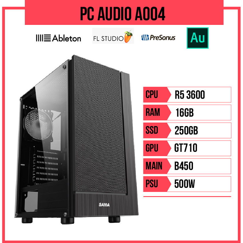 PC Audio A004 (R5 3600/B450/16GB RAM/250GB SSD/GT710/500W)