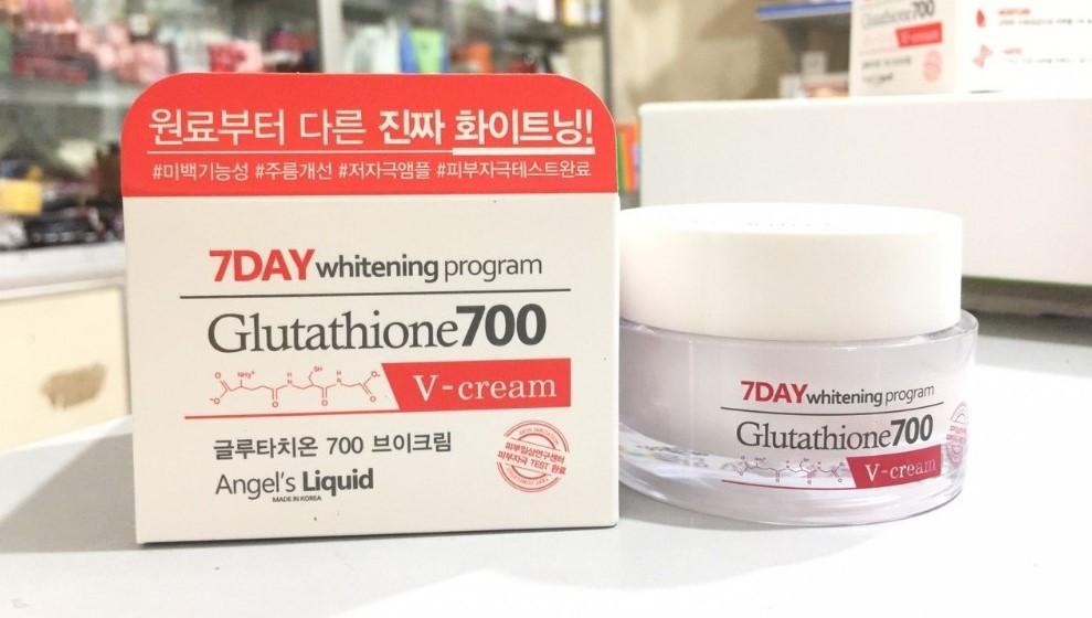 Bao bì và hũ kem dưỡng trắng da 7Day Whitening Program Glutathione700 V-Cream