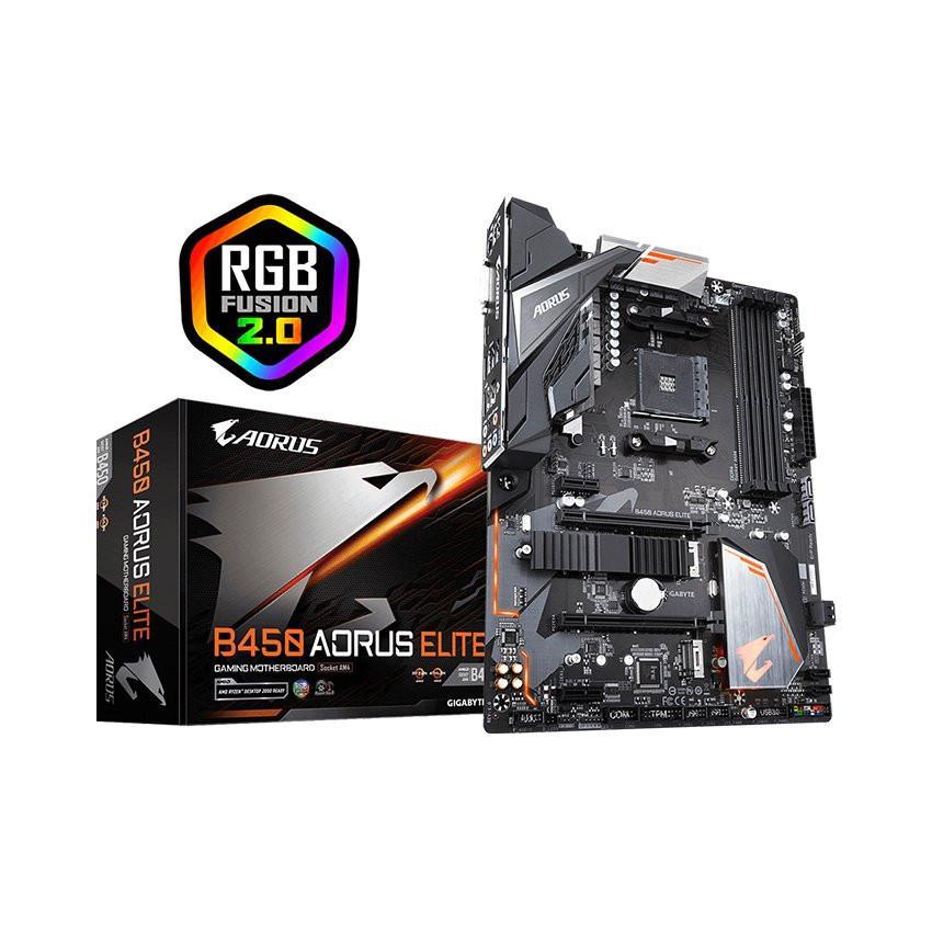 Mainboard GIGABYTE B450 AORUS ELITE (AMD B450, Socket AM4, ATX, 4 khe RAM DDR4)