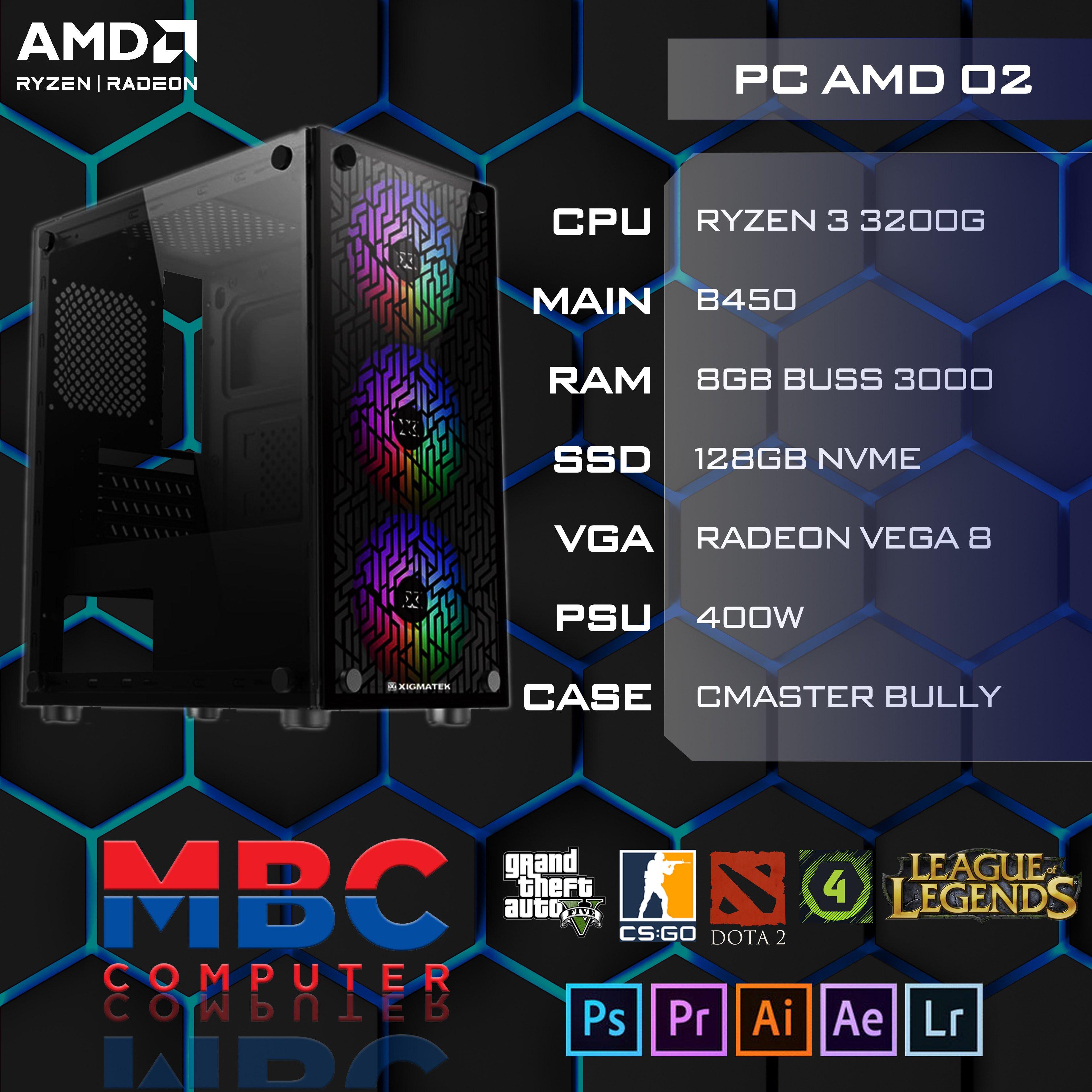 BỘ PC AMD3 3200G/B450/8GB/128GB