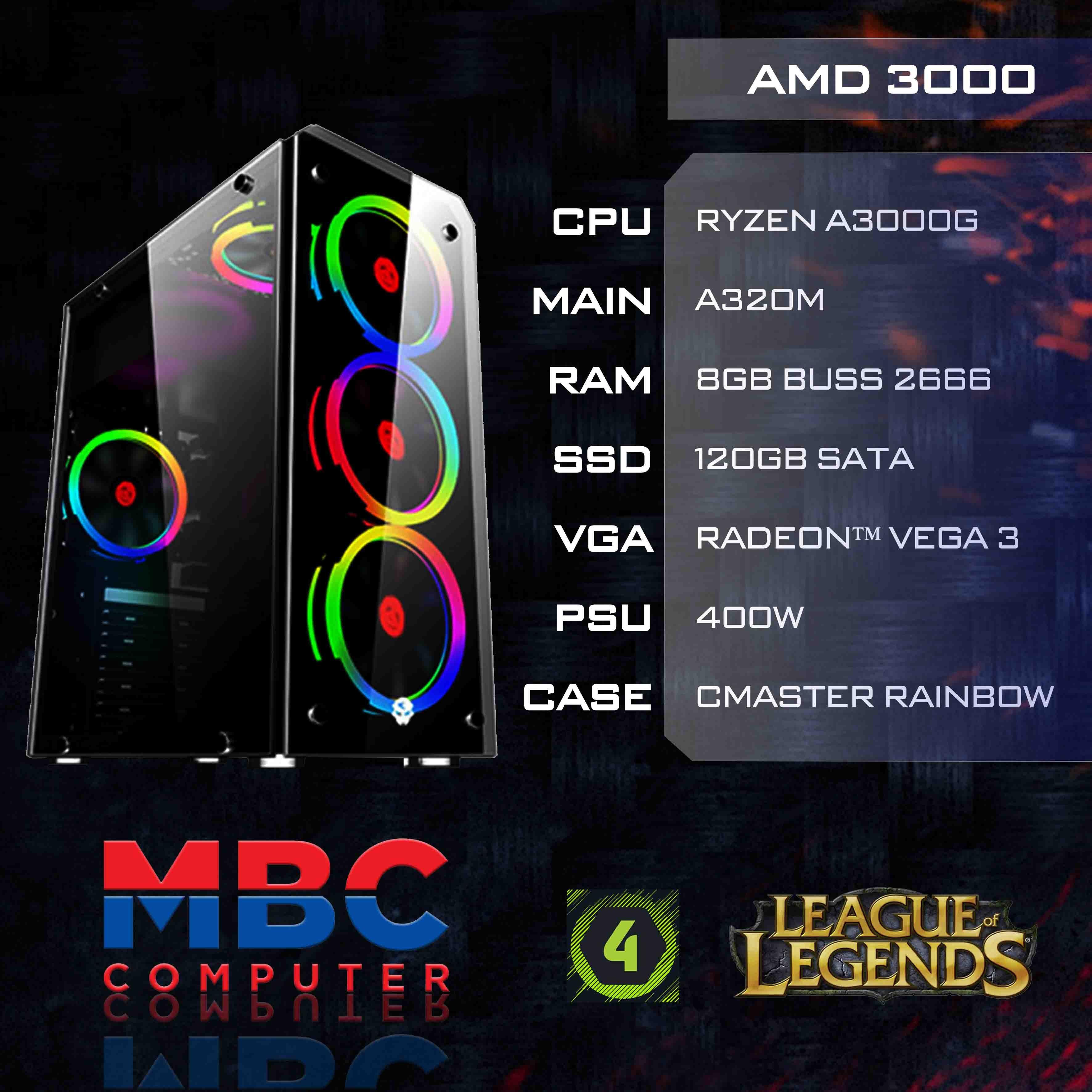 Bộ PC AMD Ryzen 3000G/A320/8GB RAM/SSD 120G