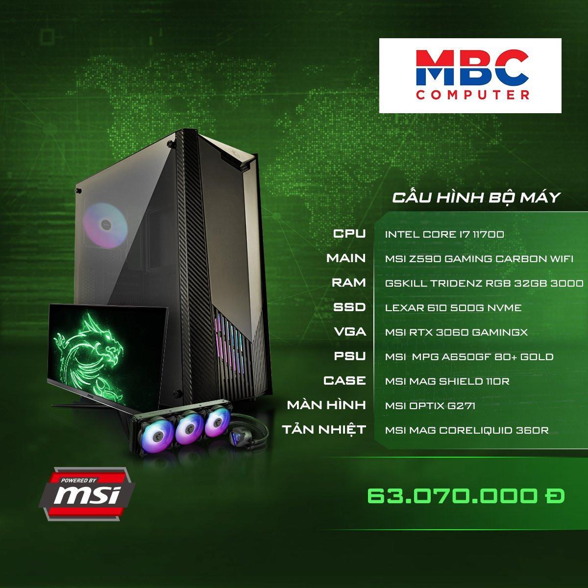PC GAMING (Z590/I7 11700/RAM 32GB/SSD 500GB NVM/VGA 3060)