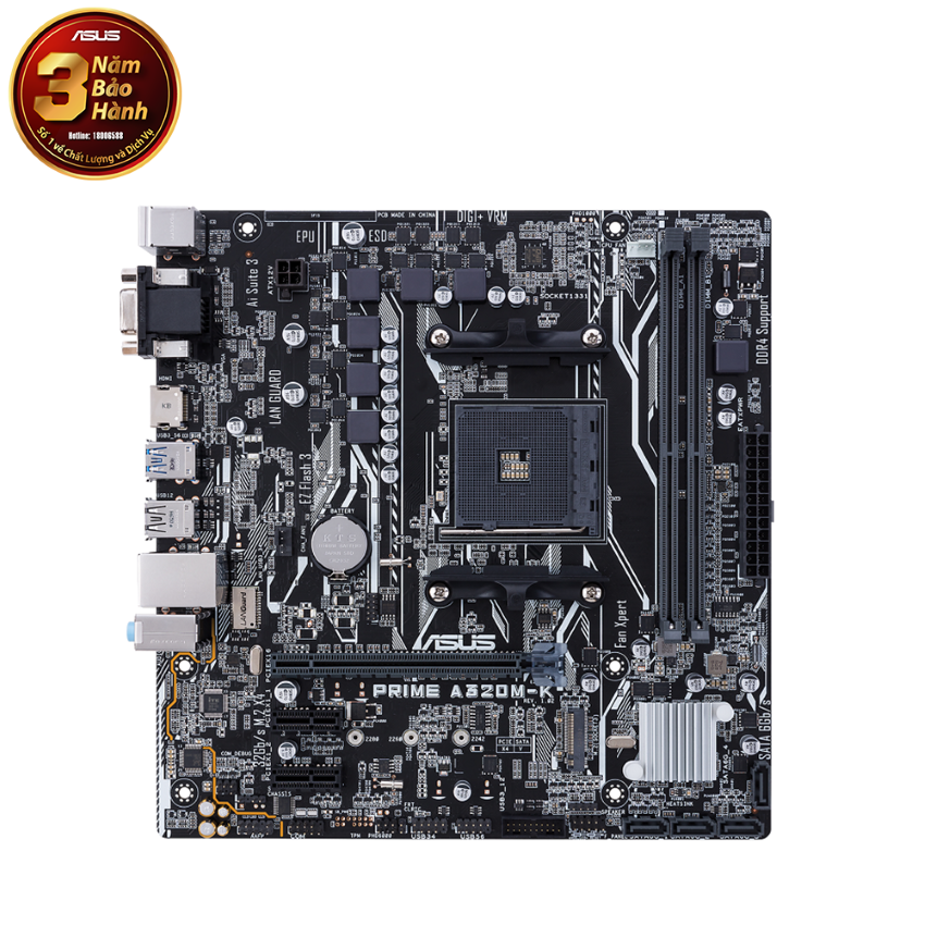 Mainboard ASUS PRIME A320M-K (AMD A320, Socket AM4, ATX, 2 khe RAM DDR4)