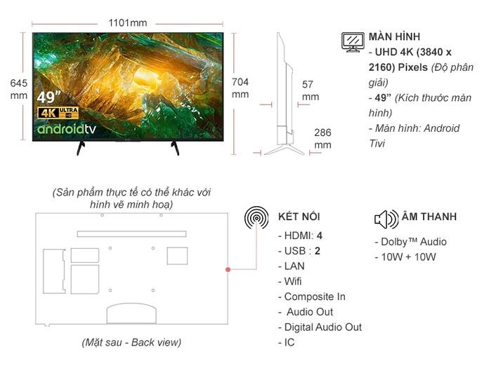 Smart Tivi 4K 49 inch Sony KD-49X8050H HDR Android