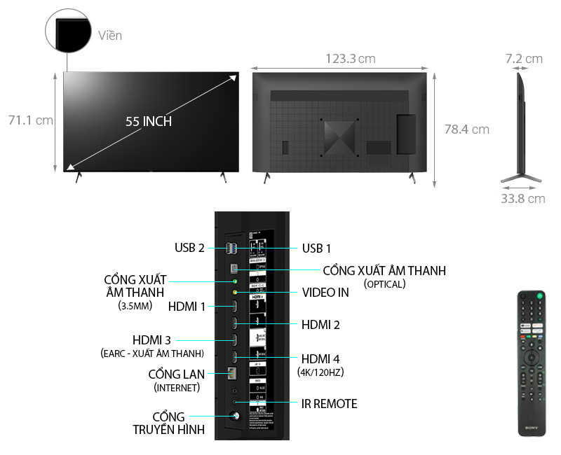 Smart Tivi 4K Sony XR-55X90J 55 inch Android TV