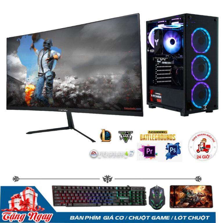 Bộ PC Gaming B360/ i3 9100F/RAM 8GB/ RX 550-4G/Màn Hình 24inch Cong Full Viền