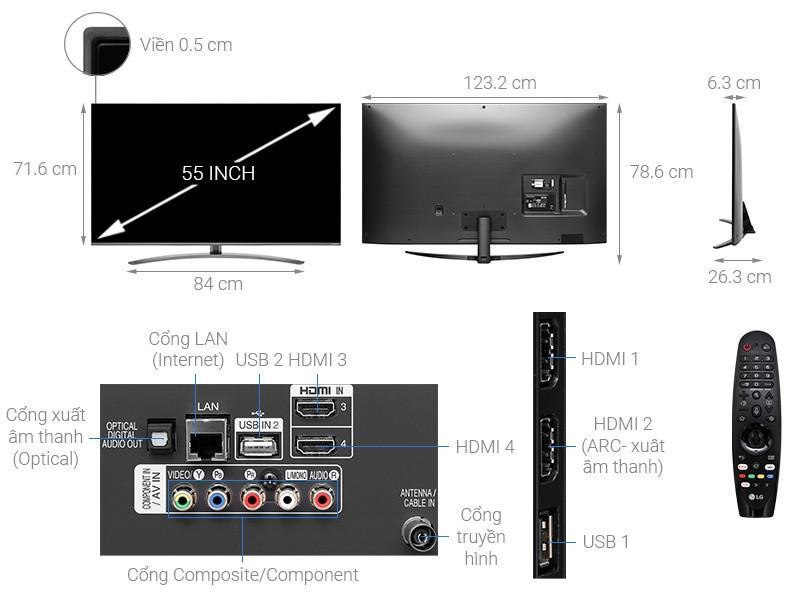 Smart Tivi LED LG 4K 55 inch 55SM8100PTA NanoCell TV